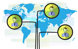Illustration of persons on blue world map. On white background Royalty Free Stock Photo