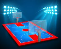 An illustration of perspective Basketball arena field with bright stadium lights design. Vector EPS 10. Room for copy.  Stock Photo