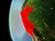 Evening view of Peru on Earth. Illustration of Peru as seen from Earth's orbit in late evening. 3D illustration. Elements of this image furnished by NASA Stock Photo