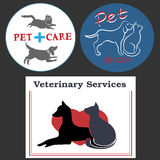 Illustration with pet care elements. Decorative logo with illustration of dogs and cats royalty free illustration