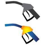Illustration of petrol nozzle used for gas filling. In black & white and in yellow, orange and blue colors on white background. This can be used by petroleum Royalty Free Stock Photos