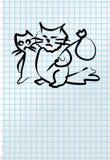 Illustration peu précise de deux chats tristes Photos stock