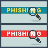 Illustration of phishing word with magnifier concept. Design Royalty Free Stock Photo
