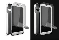 Illustration of Phone protection film on screen and cover. Smartphone display with protector glass. 3d Illustration of Phone protection film on screen and cover Royalty Free Stock Photography