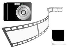 Illustration of a photo camera with film strip and Royalty Free Stock Image