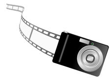 Illustration of a photo camera and filmstrip Royalty Free Stock Images