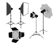 Illustration with photo studio equipment isolated on white Royalty Free Stock Photos
