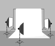 Illustration with photo studio equipment isolated on white Stock Photography