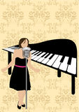 Illustration of a piano and a girl singing Royalty Free Stock Images