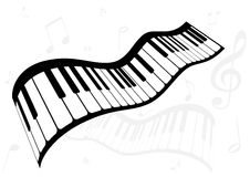 Illustration of a piano and music notes Royalty Free Stock Photography
