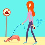 Illustration about picking up your dog`s poop. Nice girl picked up a dog`s shit and put it into a doggie bag. vector stock illustration