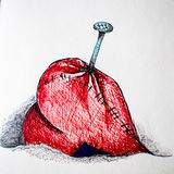 Illustration, picture colored pens nailed the heart with a nail. Illustration, painting colored pens, nailed red heart . Nailed by the heart.with a metal nail on royalty free stock images