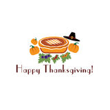 Illustration with pie, pilgrim hat and pumpki Stock Photo