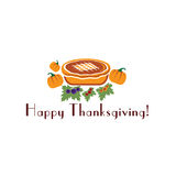 Illustration with pie and pumpkins. Happy thanksgiving illustration with pie and pumpkins Royalty Free Stock Photography