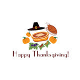Illustration with pie,turkey, pilgrim hat  Stock Images