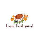 Illustration with pie,turkey and pumpkins Royalty Free Stock Photos