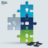 Illustration of piece of jigsaw puzzle showing. Piece of jigsaw puzzle showing business equation Royalty Free Stock Photography