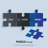 Illustration of piece of jigsaw puzzle showing. Piece of jigsaw puzzle showing business equation Royalty Free Stock Photos