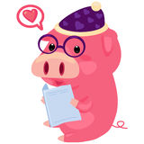 Illustration pig. On white background Stock Images