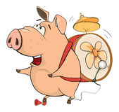Illustration of a pig-musician cartoon Royalty Free Stock Images