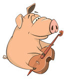 Illustration of a pig-musician cartoon Royalty Free Stock Photography