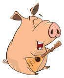Illustration of a pig-musician cartoon Royalty Free Stock Image