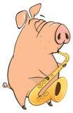 Illustration of a pig-musician cartoon vector illustration