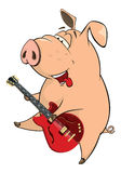 Illustration of a pig-musician cartoon Stock Photo