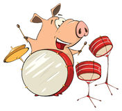 Illustration of a pig-musician cartoon Stock Images