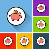 Piggy bank icons with long shadow. Illustration of piggy bank icons with long shadow Stock Images