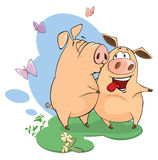 illustration of pigs sharing love Royalty Free Stock Images