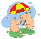 Illustration of pigs sharing love Royalty Free Stock Photo