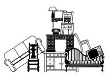 Pile of furniture vector illustration