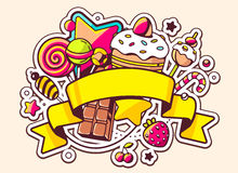 Illustration of pile of sweets and ribbon on light backgr Royalty Free Stock Photo