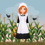 Pilgrim woman with corn cob. Illustration of Pilgrim woman with corn cob Royalty Free Stock Photo