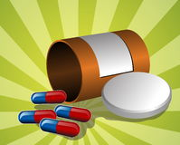Illustration of pillbox. Illustration of open pillbox with pills, spilled red and blue capsules Royalty Free Stock Photos