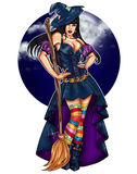 Illustration of pin up dressed up as a witch on a dark sky background stock illustration