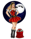 Illustration of pin up dressed up for Christmas festivity royalty free illustration