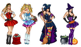 Illustration of pin ups dressed up for festivity - Christmas, Epiphany, Easter, Halloween vector illustration