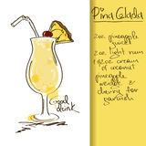 Illustration with Pina Colada cocktail Royalty Free Stock Images