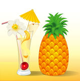 Of pineapple juice in a glass with a flower Stock Photos