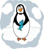 Illustration - Pinguin mit einem Fisch Lizenzfreies Stockbild