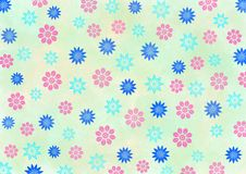 Blue and Pink Flowers Pattern in Light Yellow Background. Illustration of pink and blue flowers pattern in yellow watercolor background for spring background stock illustration