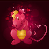 Illustration of pink dragon on a dark background. With hearts Stock Photos