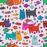 Cat mouse fish flower leaf love star colorful group seamless pattern. This illustration is this pink land with cats, mice, fishes, flowers, leaves, loves and royalty free illustration
