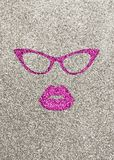 Illustration of pink lips and glasses on silver glittery background. Vertical view with space for text Royalty Free Stock Photos