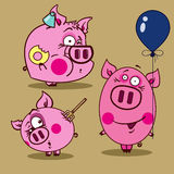 Illustration of pink pigs. Three images of pink pigs in cartoon style Royalty Free Illustration