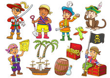 Illustration of pirate child cartoon Royalty Free Stock Photos