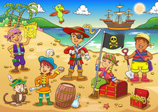 Illustration of pirate child cartoon. Royalty Free Stock Photos