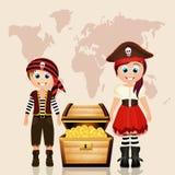 Pirate child and treasure hunt stock illustration